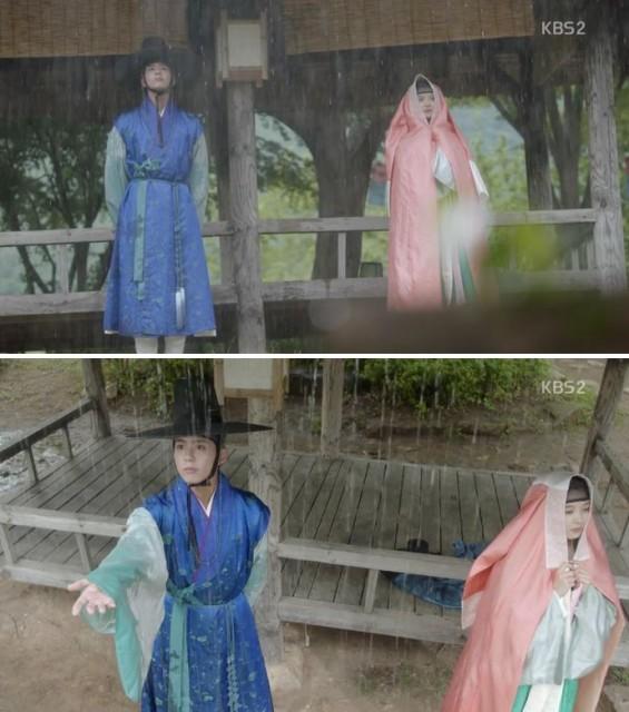 李・旲(パク・ボゴム)も雨宿りしにラオンがイルところに来ます
