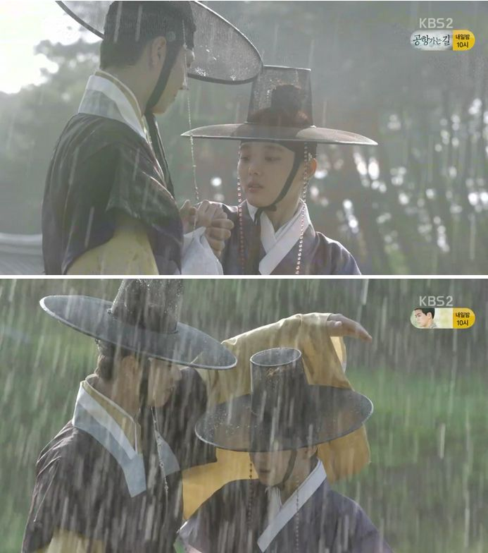 宮廷に買えるラオンとイ・ヨンは急に降って来た雨でびっしょり濡れてしまします。