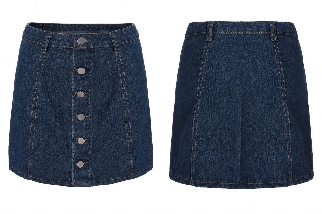 Single Button High Waist Blue Denim Skirt