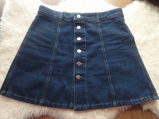 ボタンデニムスカート縫い目1