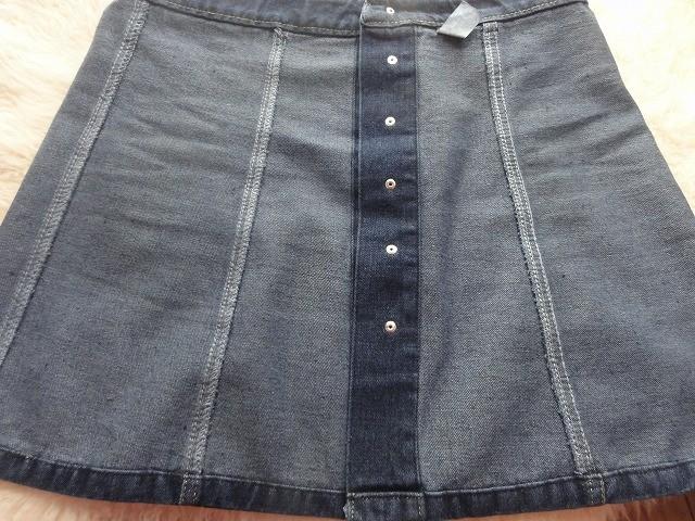 ボタンデニムスカート縫い目3