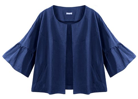 Casual Women Solid Color Loose Flare Sleeve Short Jacketネイビー