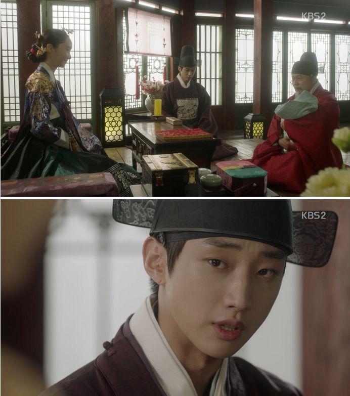王子様を見ながらうれしい話をする皇后キム氏とキム・ホンにユンソンはそんなにうれしいのかを尋ねます。