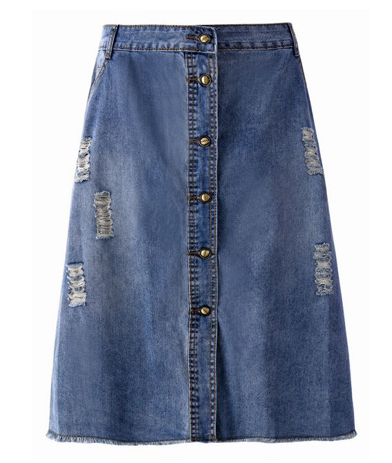Vintage Women Ripped Single Breasted Pocket Denim Midi Skirt