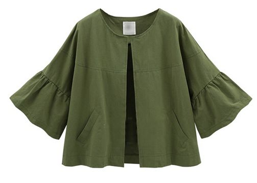Casual Women Solid Color Loose Flare Sleeve Short Jacketカーキ