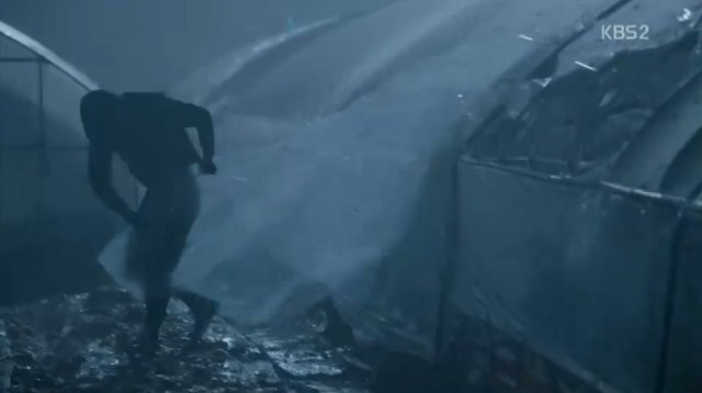 コ・ナンギル(キム・ヨングァン)も台風が来て、ナリとの思い出があるビニールハウスを守るために全身を飛ばしますが、