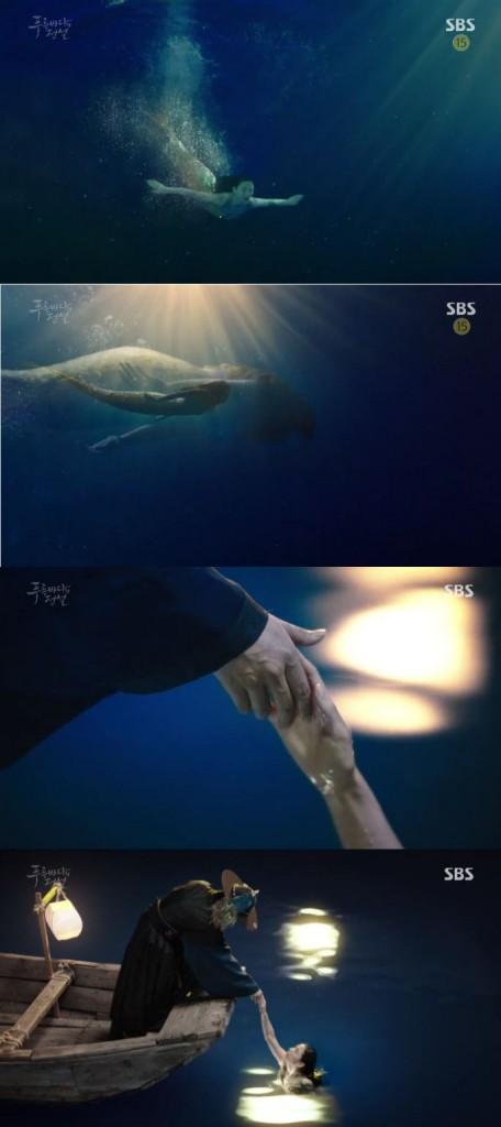 ジュンジェの助けで海に戻ったシム・チョンは何の意味か分からないが、ジュンジェに手を出します。