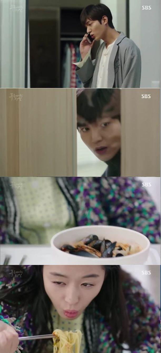 ジュンジェは病院へ電話をかけて苦情を言ったおかげで人魚シム・チョンに特食のチャンポンが出ます。