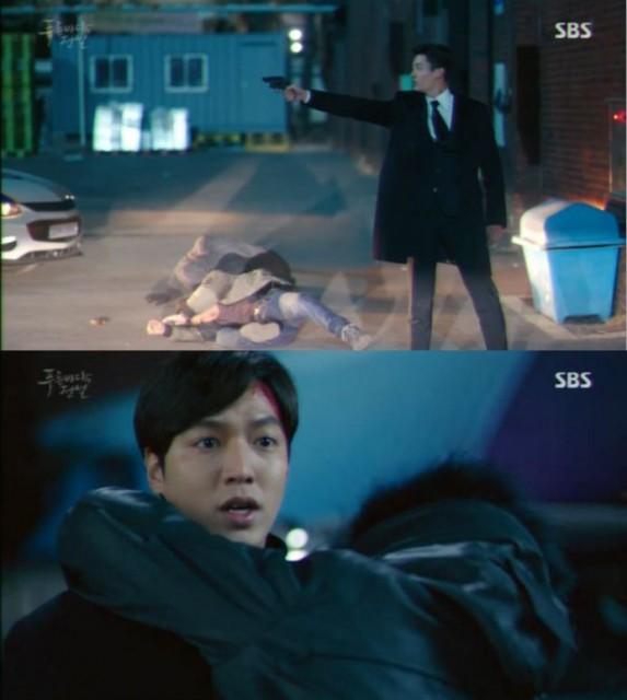 チヒョンが刑事の銃を奪ってジュンジェに撃って、その瞬間シム・チョンがジュンジェに向かって走ります。
