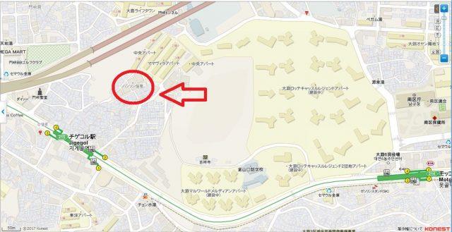 チゲゴル한성주택(ハンソン住宅)地図