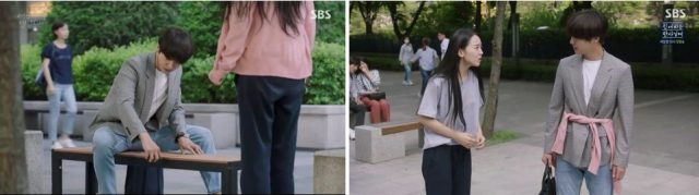 ウ・ソリは無料給食所からもらったチョコお菓子をベンチに置いて、そのベンチのサイズを測るためにコン・ウジンが座ってしまいました。